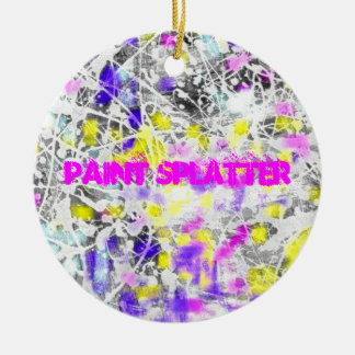 paint splatter and drip art round ceramic ornament