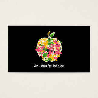 Paint Splatter Apple Teacher Business Card
