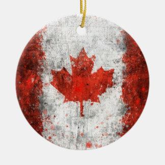Paint Splatter Canadian Flag Round Ceramic Ornament