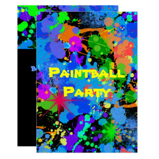 Paint Splatter, Faux Neon, Birthday Invitation
