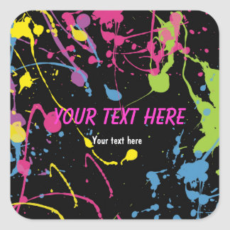 Paint Splatter glow 80's neon party sticker label