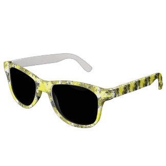Paint Splatter in Yellow and Black Abstract Sunglasses
