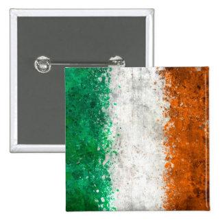 Paint Splatter Irish Flag 2 Inch Square Button