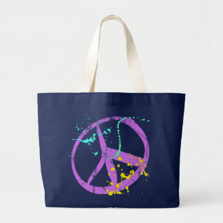 Paint Splatter Peace Sign Large Tote Bag