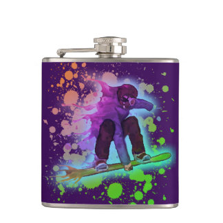 Paint splatter rainbow snowboarder flask