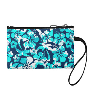 Paint splattered hibiscus and palms coin purse
