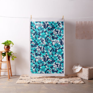 Paint splattered hibiscus and palms fabric