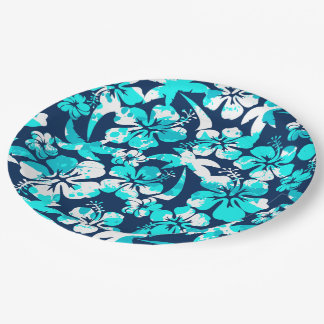 Paint splattered hibiscus and palms paper plate