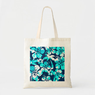 Paint splattered hibiscus and palms tote bag