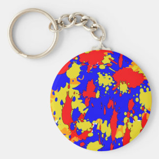 Paint Splatters Blue Red Yellow Abstract Basic Round Button Keychain