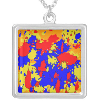 Paint Splatters Red Blue Yellow Abstract Silver Plated Necklace