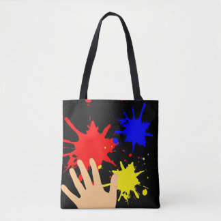 Paint Splatters with Hand by Julie Everhart Tote Bag