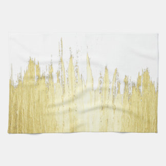Paint Strokes in Faux Gold Kitchen Towel