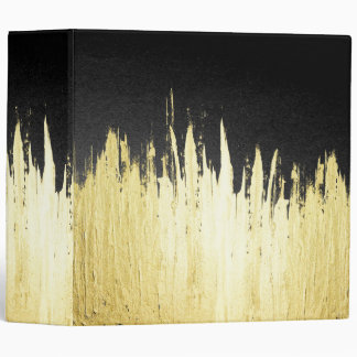 Paint Strokes in Faux Gold on Black Vinyl Binders