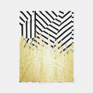Paint Strokes in Faux Gold on Black & White Stripe Fleece Blanket