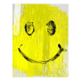 Paint Strokes Smiley Face Postcard