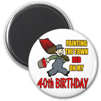 Paint The Town 40th Birthday Gifts Refrigerator Magnets