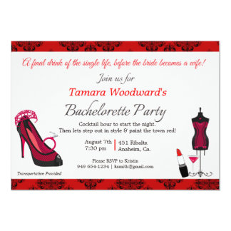 "Paint the Town Bachelorette Party 5"" X 7"" Invitation Card"