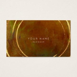 Paint Tropical Geometric Golden Foil Circles Sepia Business Card