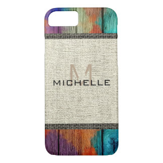 Paint Wood Look Burlap Rustic Monogram #2 iPhone 8/7 Case
