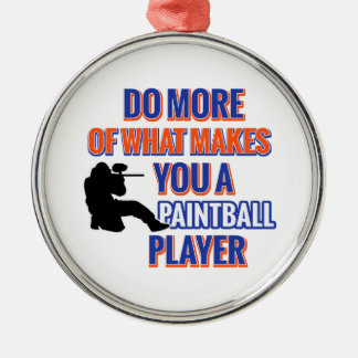 PAINTBALL DESIGN Silver-Colored ROUND ORNAMENT