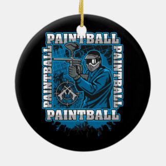 Paintball Player Blue Team Ceramic Ornament