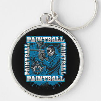 Paintball Player Blue Team Keychain