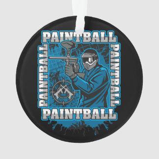 Paintball Player Blue Team Ornament