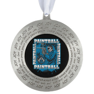 Paintball Player Blue Team Pewter Ornament