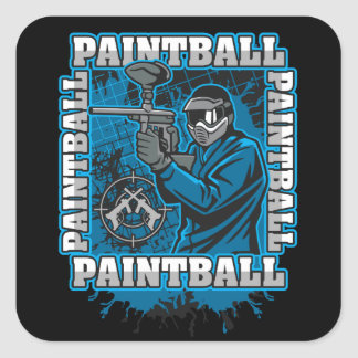 Paintball Player Blue Team Square Sticker