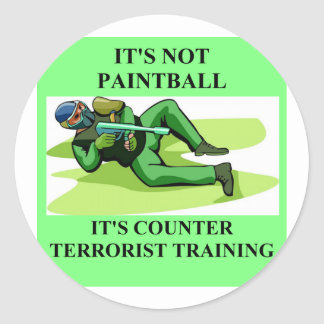 paintball player classic round sticker