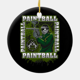 Paintball Player Green Team Ceramic Ornament