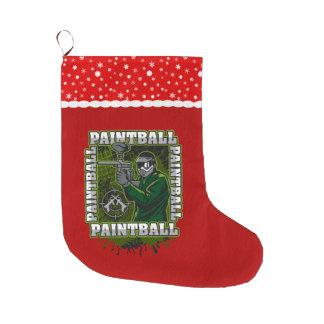 Paintball Player Green Team Large Christmas Stocking