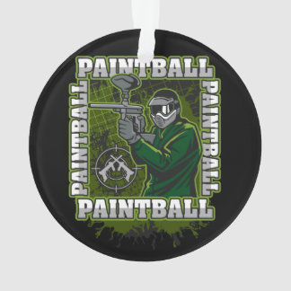 Paintball Player Green Team Ornament