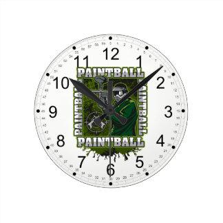 Paintball Player Green Team Round Clock