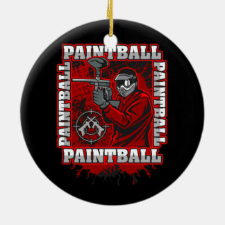 Paintball Player Red Team Colors Ceramic Ornament