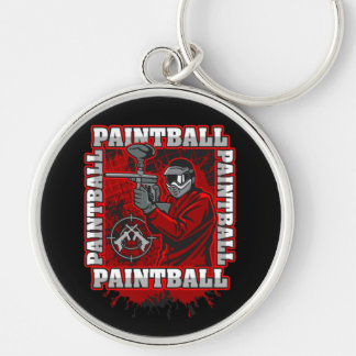 Paintball Player Red Team Colors Keychain