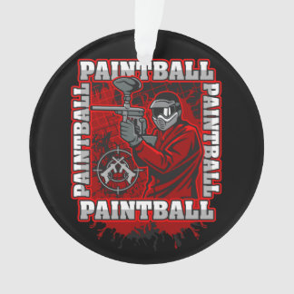 Paintball Player Red Team Colors Ornament