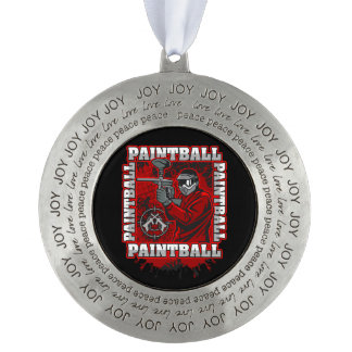 Paintball Player Red Team Colors Pewter Ornament