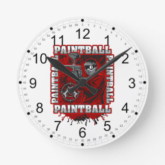 Paintball Player Red Team Colors Round Clock
