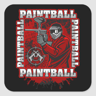 Paintball Player Red Team Colors Square Sticker