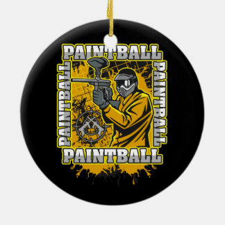 Paintball Player Yellow Team Ceramic Ornament