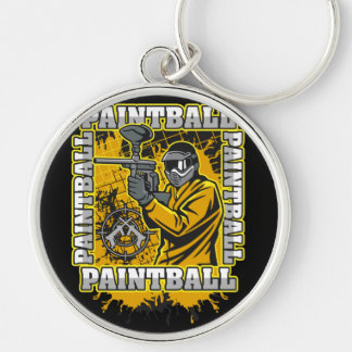 Paintball Player Yellow Team Keychain