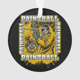 Paintball Player Yellow Team Ornament