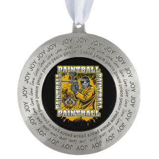 Paintball Player Yellow Team Pewter Ornament