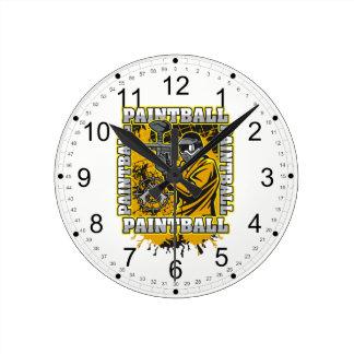 Paintball Player Yellow Team Round Clock