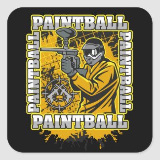 Paintball Player Yellow Team Square Sticker