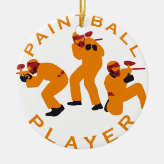 paintball players ceramic ornament