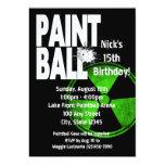 "Paintball Radio Active Birthday 5"" X 7"" Invitation Card"