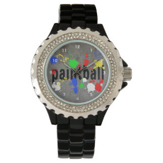 Paintball text on Grey with Splatters Watch